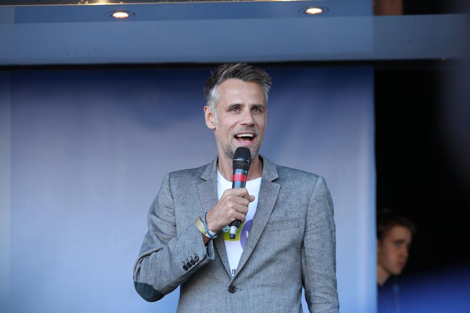 Richard Bacon addresses Anti-Brexit campaigners at a rally after the People's Vote March for the Future in London, a march and rally in support of a second EU referendum. (Photo by Yui Mok/PA Images via Getty Images)
