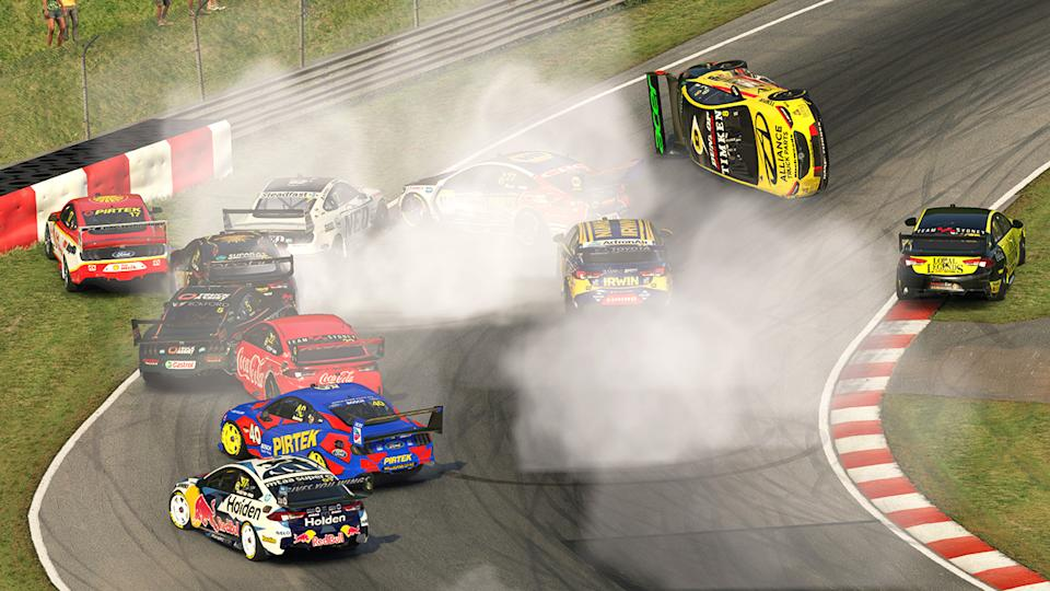 Drivers, pictured here in a large crash during the Supercars Eseries.