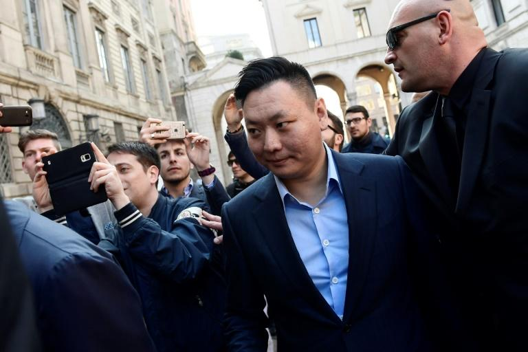 David Han Li, representative of Chinese consortium Sino-Europe Sports (SES), arrives in Milan to finalise the deal with Fininvest for the takeover by Rossoneri Sport Investment Lux of AC Milan, on April 13, 2017