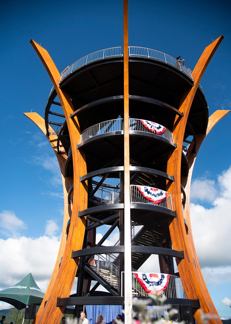 The flower inspired 360-degree view tower, AnaVista Tower, at its grand opening at Anakeesta in Gatlinburg, Tenn., on Wednesday, July 8, 2020.
