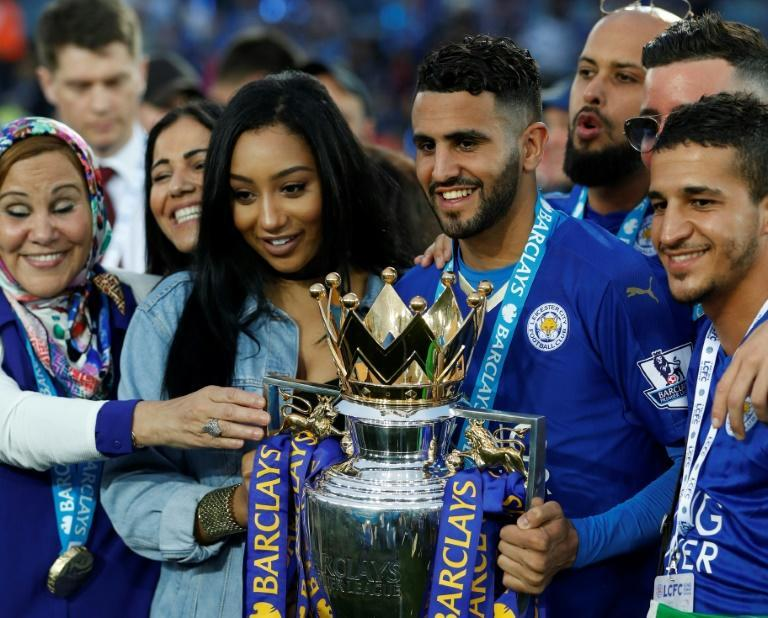 Mahrez with the trophy after winning the Premier League with Leicester in 2016