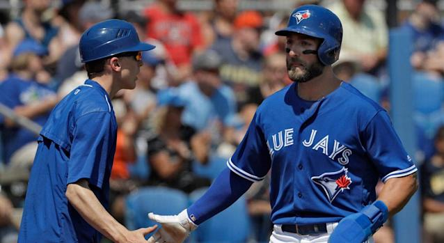 The Blue Jays are hoping Kevin Pillar's new-found patience this spring carries over into April. (AP Photo/Chris O'Meara)