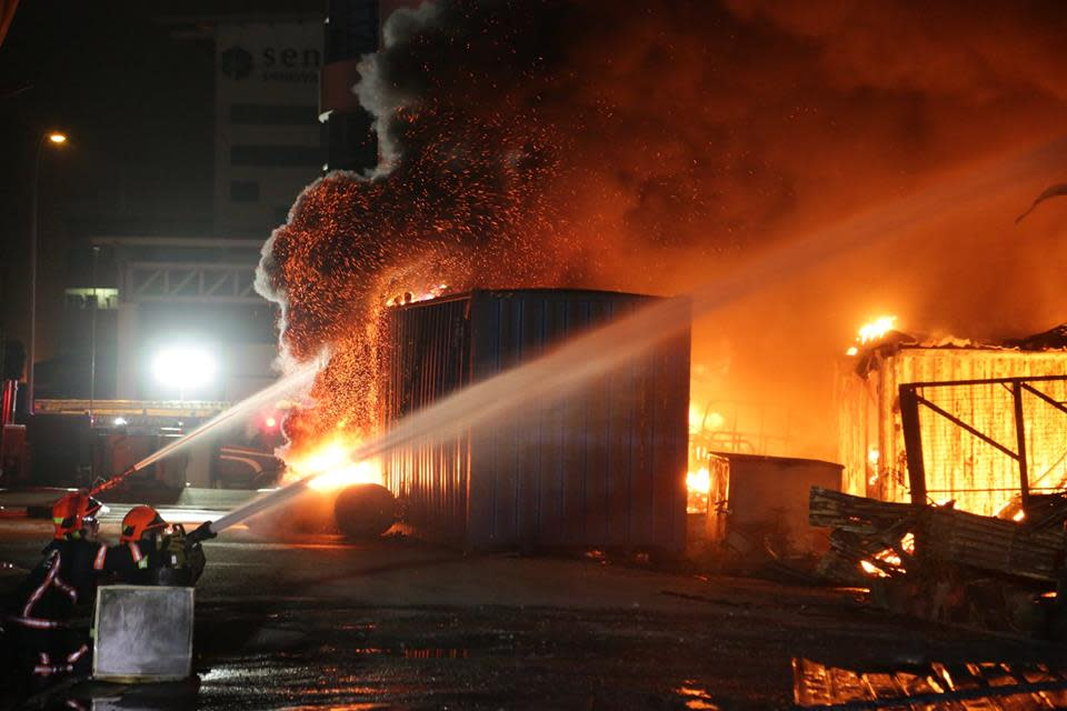 A fire broke out at a single-storey furniture warehouse in Sungei Kadut on 17 December, 2018. (PHOTO: SCDF)