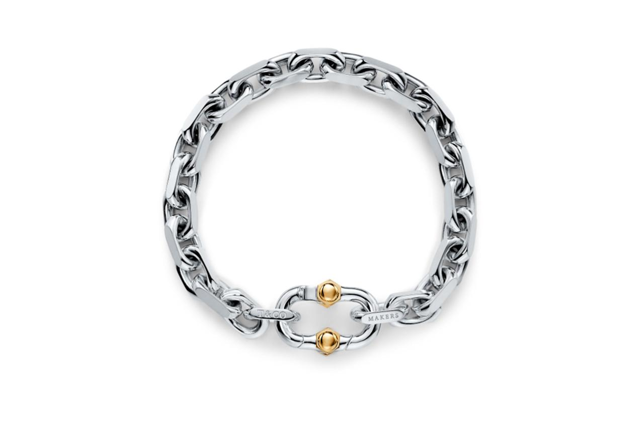 "$850, Tiffany. <a href=""https://www.tiffany.com/jewelry/bracelets/tiffany-1837-makers-wide-chain-bracelet-in-sterling-silver-and-18k-gold-GRP11148/"">Get it now!</a>"