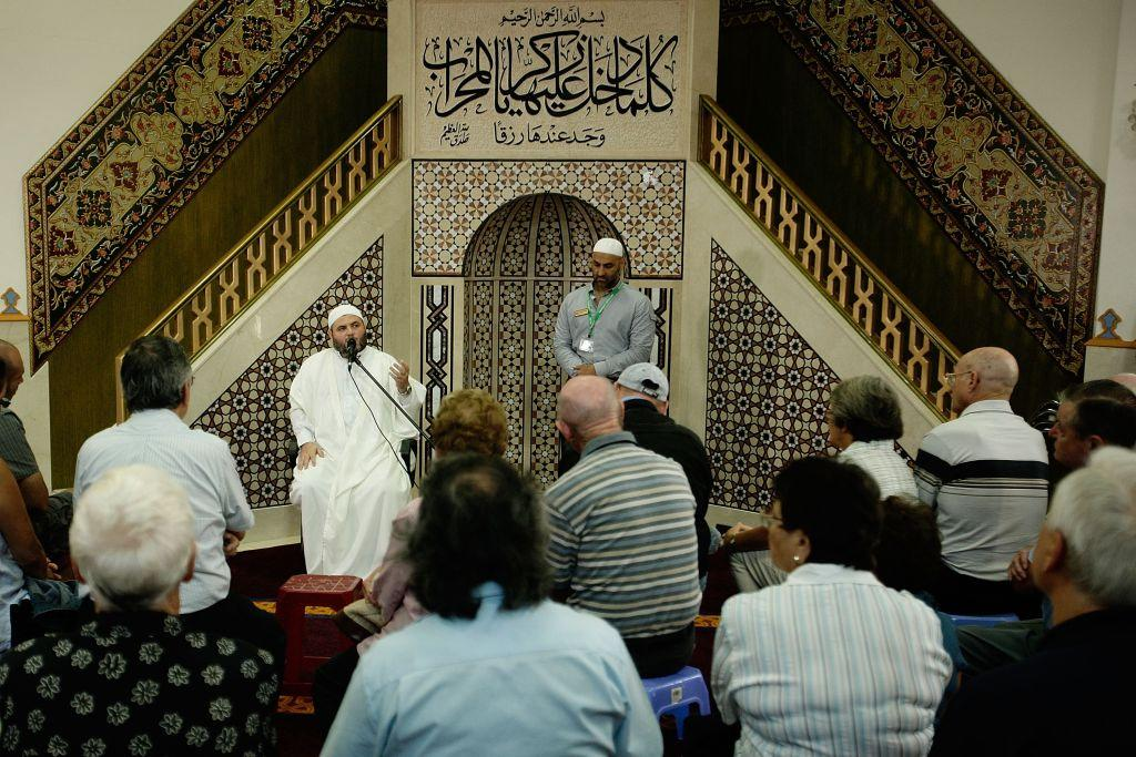 <b>SYDNEY, AUSTRALIA:</b> Lebanon-born Imam Sheik Safi addresses the sudience during a Q&A during the Lakemba Mosque Open Day in Sydney, Australia. Also known as the Imam Ali Bin Abi  Taleb Mosque, it is one of the largest mosques in Australia.