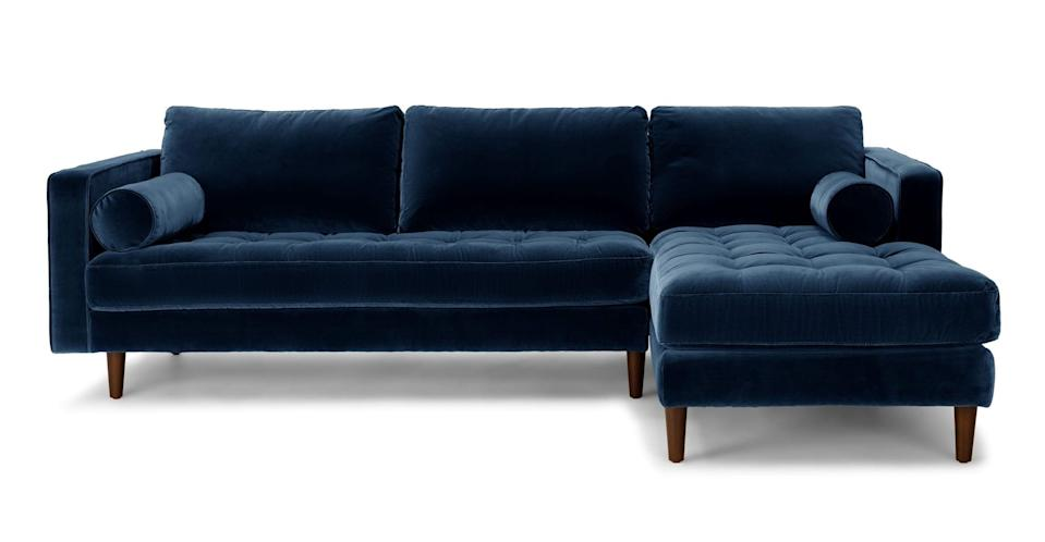 """<p>The <a href=""""https://www.popsugar.com/buy/Article-Sven-Cascadia-Blue-Right-Sectional-Sofa-574199?p_name=Article%20Sven%20Cascadia%20Blue%20Right%20Sectional%20Sofa&retailer=article.com&pid=574199&price=2%2C199&evar1=casa%3Aus&evar9=47486578&evar98=https%3A%2F%2Fwww.popsugar.com%2Fphoto-gallery%2F47486578%2Fimage%2F47486686%2FMy-Exact-Sven-Sectional-Sofa&list1=shopping%2Cfurniture%2Ceditors%20pick%2Capartments%2Chome%20decorating%2Csmall%20space%20living%2Capartment%20living%2Cdecor%20shopping%2Chome%20shopping%2Cat%20home%20with%20popsugar&prop13=api&pdata=1"""" class=""""link rapid-noclick-resp"""" rel=""""nofollow noopener"""" target=""""_blank"""" data-ylk=""""slk:Article Sven Cascadia Blue Right Sectional Sofa"""">Article Sven Cascadia Blue Right Sectional Sofa</a> ($2,199) comes with two matching bolstered pillows, which is an elegant touch. The back cushions are soft and pillowy but still hold their structure so you're not constantly fluffing them every minute. It's truly my prized possession.</p>"""