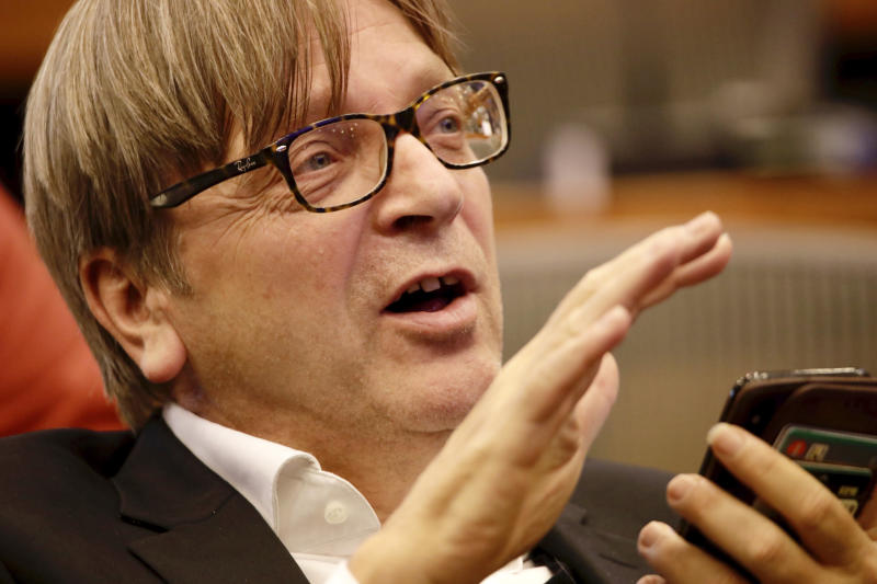 European Parliament Brexit chief Guy Verhofstadt speaks during a meeting of the Committee on Petitions at the European Parliament, Wednesday, Oct. 2, 2019. British Prime Minister Boris Johnson sent to Brussels what he says is the U.K.'s final offer for a Brexit deal, with the date set for Britain's departure less than a month away. (AP Photo/Olivier Matthys)