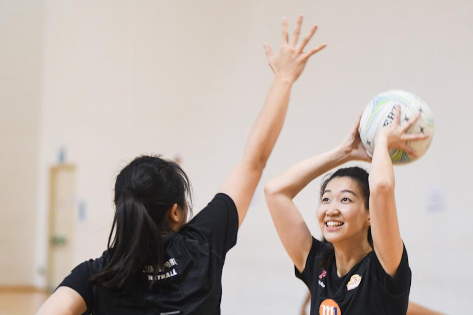 Singapore national netball captain Charmaine Soh (right) during training for the Netball World Cup. (PHOTO: Stefanus Ian/Yahoo News Singapore)