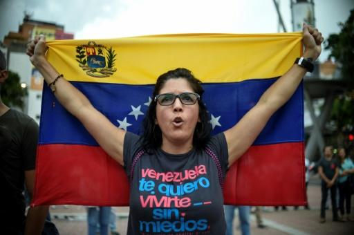 Demonstrantin in Caracas vor der Abstimmung