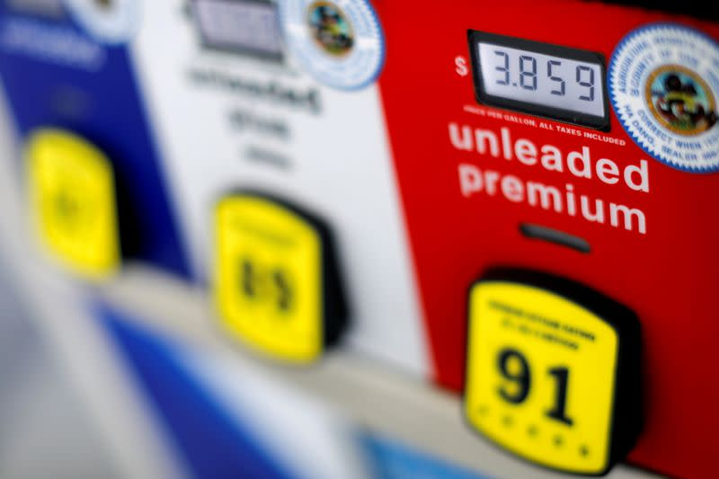 FILE PHOTO: The price of gasoline is shown on a gas pump at an Arco gas station in San Diego