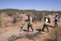 From left, Alvaro Enciso, Peter Lucero and Michele Maggiora, all volunteers for the Tucson Samaritans, walk through the desert to locate and check the condition of a cross marking the site of a deceased migrant near Three Points, Ariz., on Tuesday, May 18, 2021. (AP Photo/Ross D. Franklin)