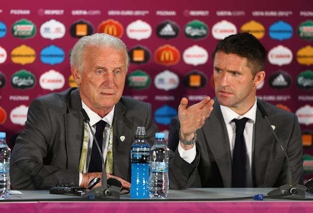POZNAN, POLAND - JUNE 10: In this handout image provided by UEFA, Coach Giovanni Trapattoni and Robbie Keane of the Republic of Ireland talk to the press during a UEFA EURO 2012 press conference after the UEFA 2012 Group C match between Republic of Ireland and Croatia on June 10, 2012 in Poznan, Poland. (Photo by Handout/UEFA via Getty Images)