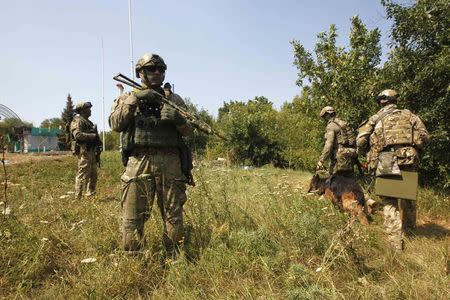 Ukrainian servicemen search for explosives with a sniffer dog around a checkpoint near Debaltseve