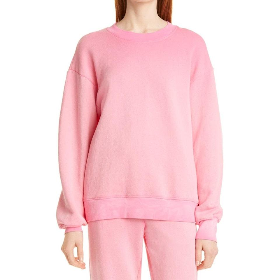 """Your search for the ultimate loungewear addition ends here. Cotton Citizen's taffy-pink crewneck gently hugs your collarbones, and hits just below the hips for an effortless fit. $225, Nordstrom. <a href=""""https://www.nordstrom.com/s/cotton-citizen-brooklyn-oversize-crew-sweatshirt/6487213"""" rel=""""nofollow noopener"""" target=""""_blank"""" data-ylk=""""slk:Get it now!"""" class=""""link rapid-noclick-resp"""">Get it now!</a>"""