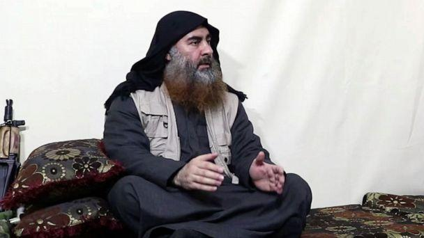 PHOTO: This image made from video posted on a militant website , April 29, 2019, purports to show the leader of the Islamic State group, Abu Bakr al-Baghdadi, being interviewed by his group's Al-Furqan media outlet.  (Al-Furqan media via AP)