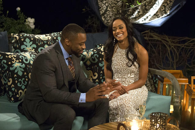 <p>Kenny and Rachel Lindsay on ABC's <i>The Bachelorette</i>. <br>(Photo: Paul Hebert/ABC) </p>
