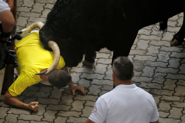 """An 'El Pilar' fighting bull charges against a reveler during the running of the bulls at the San Fermin festival, in Pamplona, Spain, Friday, July 12, 2013. Revelers from around the world arrive to Pamplona every year to take part in some of the eight days of the running of the bulls glorified by Ernest Hemingway's 1926 novel """"The Sun Also Rises."""" (AP Photo/Daniel Ochoa de Olza)"""
