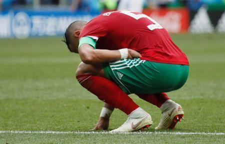 Soccer Football - World Cup - Group B - Portugal vs Morocco - Luzhniki Stadium, Moscow, Russia - June 20, 2018 Morocco's Medhi Benatia looks dejected after the match REUTERS/Maxim Shemetov