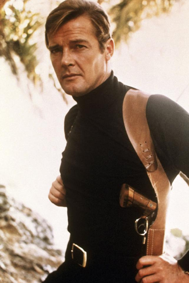 "<b>October 14, 1927</b> – Sean Connery's campier replacement as superspy James Bond, <a>Roger Moore</a>, was born on this day in London, England. Moore's television roles as a spy and a playboy in ""The Saint"" and ""The Persuaders"" amply prepared him for the role of Bond, which he embodied on seven occasions between 1973 and 1985."