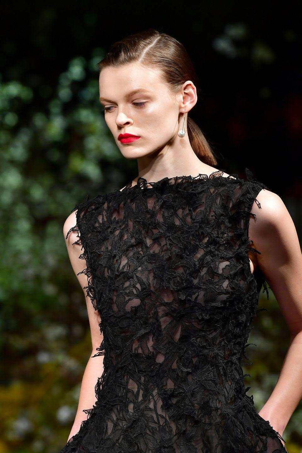 <p>At Jason Wu, models also wore a similar hot shade paired with an almost bare face.</p>