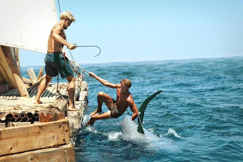 """This film image released by The Weinstein Company shows Jakob Oftebro as Torstein, left, and Tobias Santelmann as Knut in a scene from """"Kon Tiki."""" (AP Photo/The Weinstein Company)"""