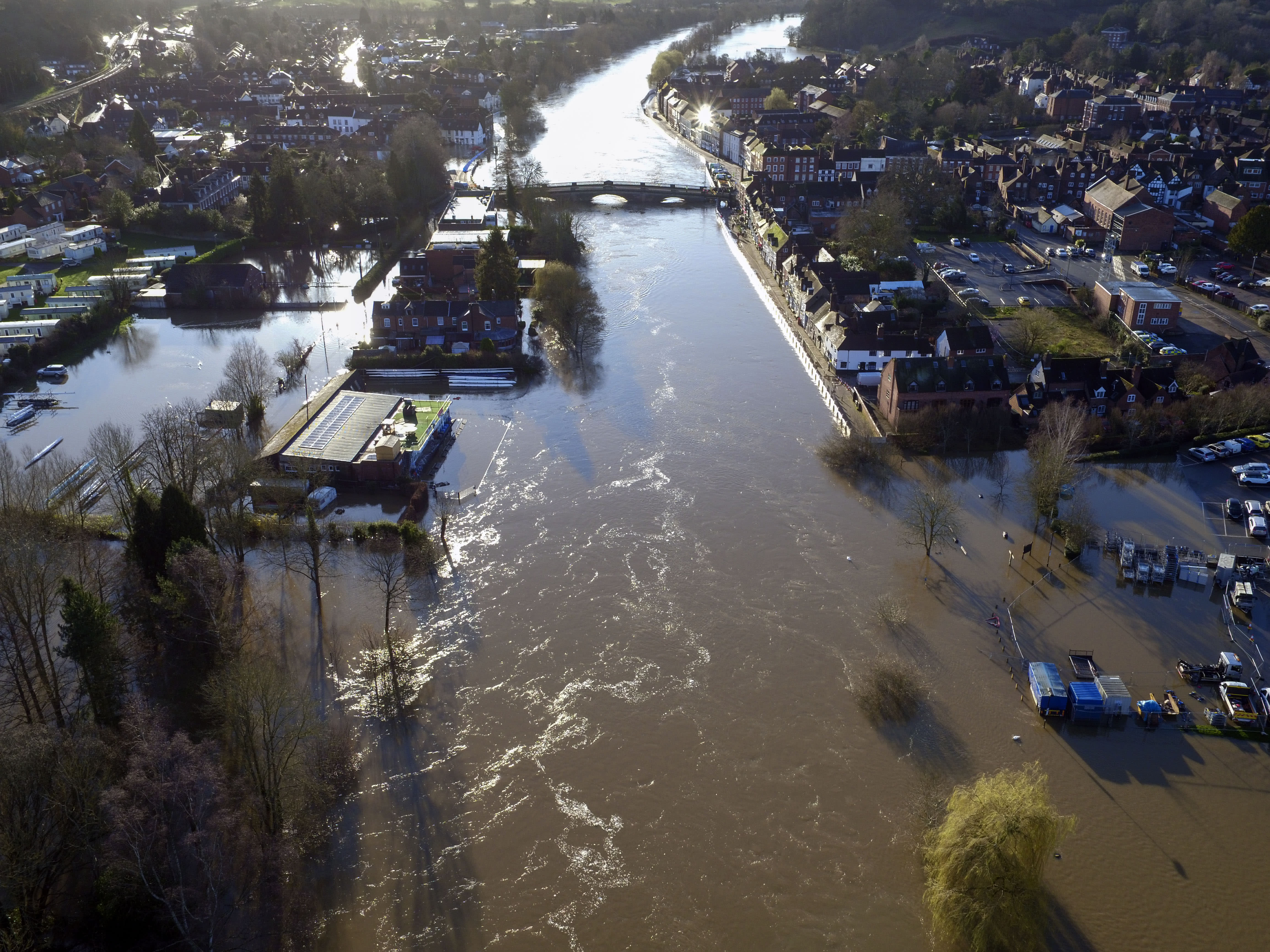 Flooding in Bewdley, Worcestershire, as the River Severn remains high, with warnings of further flooding across the UK.