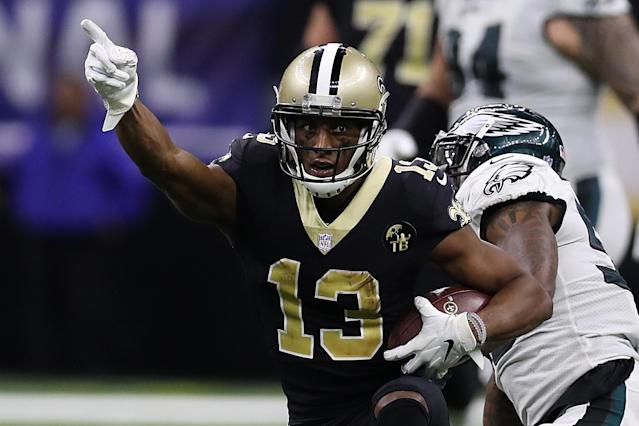 The Saints' Michael Thomas kept the chains moving against the Eagles. (Getty Images)