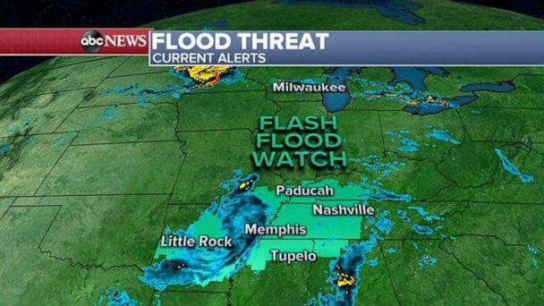 PHOTO: A flash flood watch has been issued for Arkansas, Mississippi, Alabama, Tennessee, Kentucky and Illinois, where some areas could see 3 to 5 inches of rain. (ABC News)