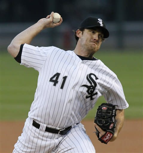 Chicago White Sox starting pitcher Philip Humber delivers during the first inning of a baseball game against the Boston Red Sox, Thursday, April 26, 2012, in Chicago. (AP Photo/Charles Rex Arbogast)