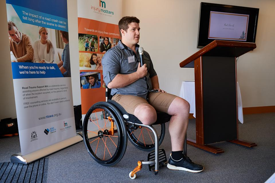 Road Trauma Support WA ambassador, Mark Daniels speaking at an event, sharing his story about how road trauma impacted his life
