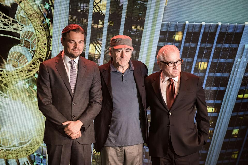 (L to R) US actor Leonardo DiCaprio, US actor Robert De Niro and US film director Martin Scorsese pose during a press conference ahead of the opening of the Studio City casino resort in Macau on October 27, 2015. Casino operator Melco Crown was to open its latest resort Studio City as the city scrambles to diversify from gambling to the mass-market amid falling revenues.  AFP PHOTO / Philippe Lopez / AFP PHOTO / PHILIPPE LOPEZ        (Photo credit should read PHILIPPE LOPEZ/AFP via Getty Images)