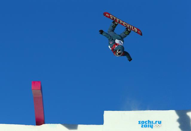 SOCHI, RUSSIA - FEBRUARY 08: Alexey Sobolev of Russia competes during the Snowboard Men's Slopestyle Semifinals during day 1 of the Sochi 2014 Winter Olympics at Rosa Khutor Extreme Park on February 8, 2014 in Sochi, Russia. (Photo by Cameron Spencer/Getty Images)