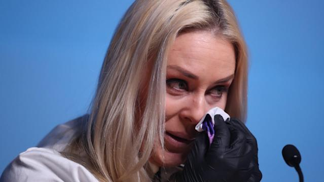 Olympic skier Lindsey Vonn teared up while speaking of her beloved late grandfather during a news conference Friday in Pyeongchang, South Korea.