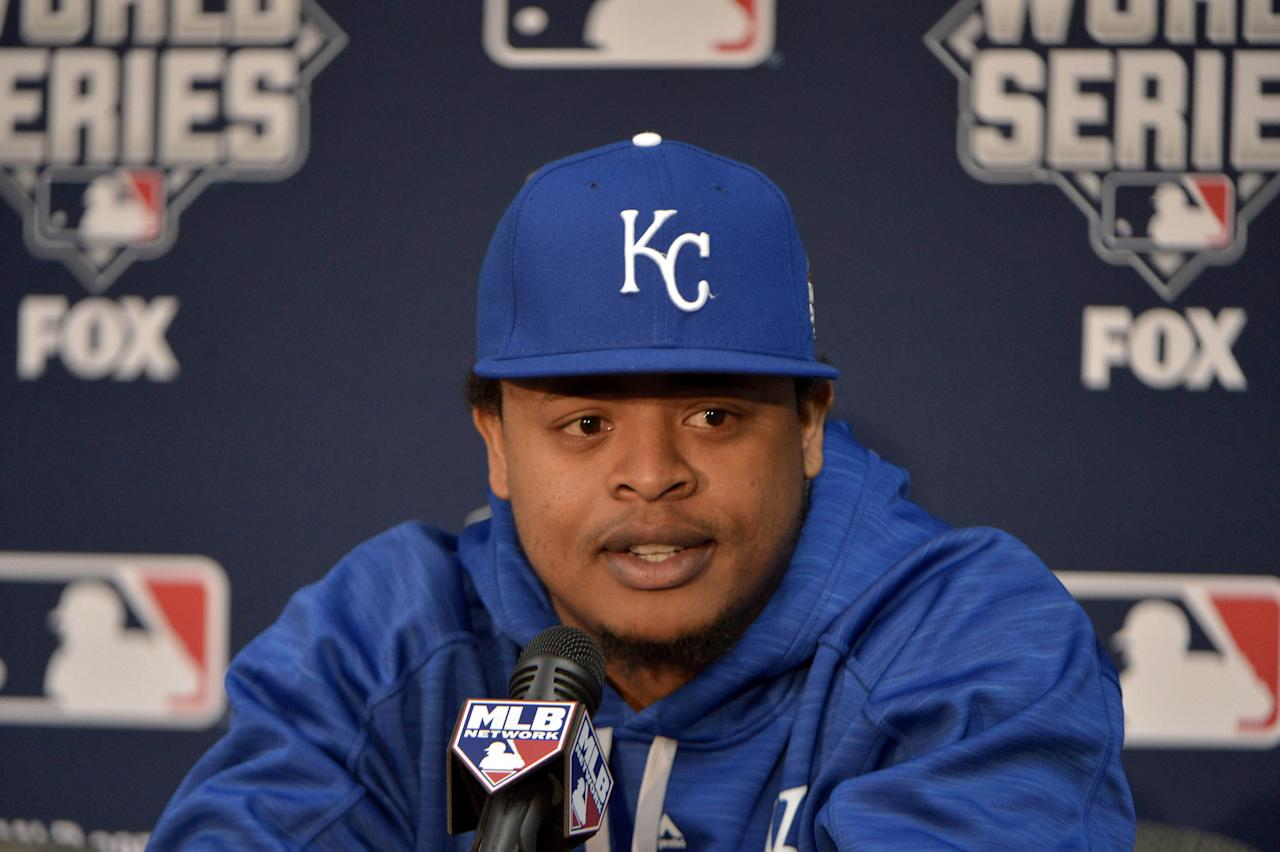 FILE PHOTO: Kansas City Royals starting pitcher Yordano Ventura (30) answers questions from media during workouts the day before game one of the 2015 World Series against the New York Mets at Kauffman Stadium in Kansas City, Missouri, U.S. October 26, 2015. Mandatory Credit: Denny Medley-USA TODAY Sports/File Photo