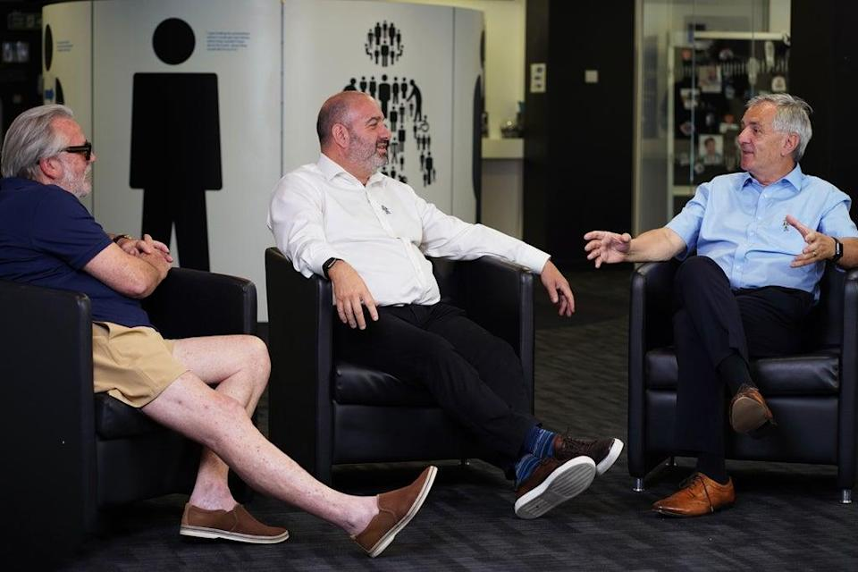Actor Ray Winstone, city trader Gary Pettit and former Charlton Athletic CEO Peter Varney discuss friendship and prostate cancer in a new film The Sit Down for Prostate Cancer UK (Prostate Cancer UK/PA)