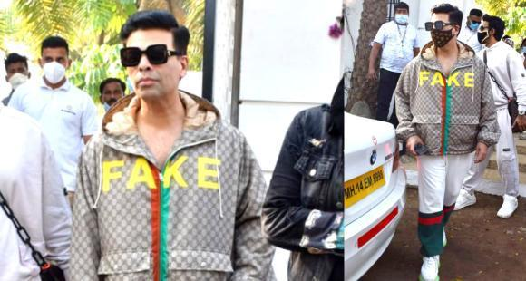 Karan Johar kept it casual in a Rs 1.9 LAKH Gucci outfit & Louis Vuitton  monogram mask as he left from Alibaug | PINKVILLA