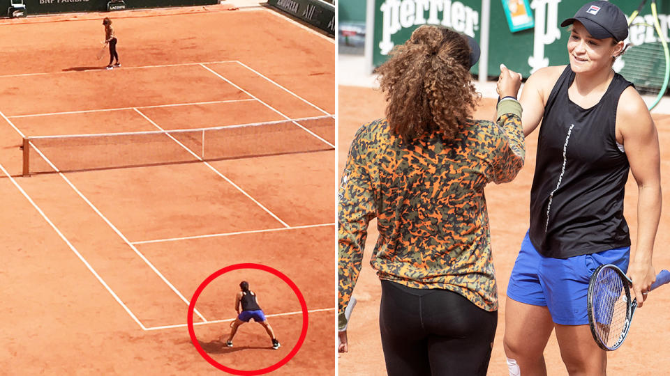 Ash Barty and Naomi Osaka, pictured here on the practice court together ahead of the French Open.