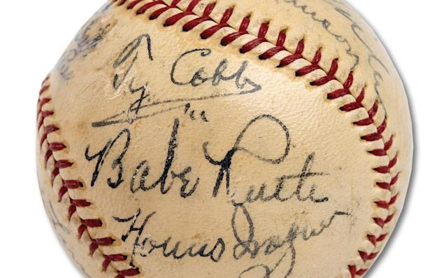A baseball featuring 11 signatures from honorees at the first Hall of Fame induction ceremony in 1939 sold at auction for a record amount. Babe Ruth, Honus Wagner, Ty Cobb and other legends of early baseball signed the ball. (SCP Auctions)