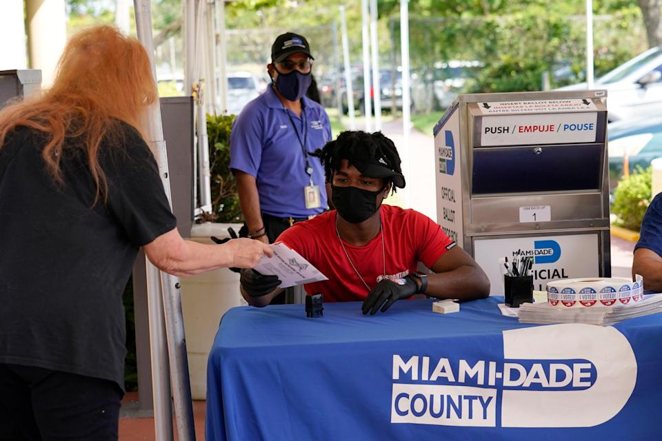 Election worker Najeh Fisher, right, takes a vote-by-mail ballot to place into an official ballot drop box at the Miami-Dade County Elections Department on 14 October in Florida. (AP)