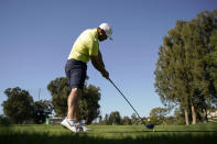 Brooks Koepka tees off on the second hole during the Genesis Invitational pro-am golf event at Riviera Country Club, Wednesday, Feb. 17, 2021, in the Pacific Palisades area of Los Angeles. (AP Photo/Ryan Kang)