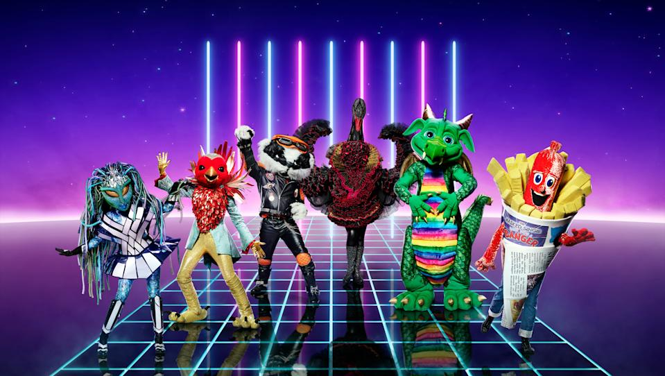 Editorial use only  Mandatory Credit: Photo by ITV/Vincent Dolman/Shutterstock (11112942c)  Alien, Robin, Badger, Swan, Dragon and Sausage [all appearing in Ep1].  'The Masked Singer' TV Show, Series 2, UK - 26 Dec 2020