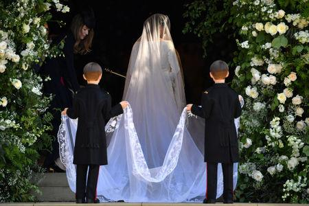 US actress Meghan Markle arrives for the wedding ceremony to marry Britain's Prince Harry, Duke of Sussex, at St George's Chapel, Windsor Castle, in Windsor, Britain, May 19, 2018. Ben STANSALL/Pool via REUTERS