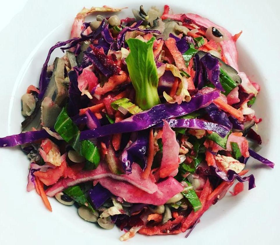 """<p>With sweet potato, red cabbage, pak choi, Chinese cabbage and a green apple and ginger marinade by <a rel=""""nofollow noopener"""" href=""""https://www.instagram.com/p/BUMBCvmAVd5/?tagged=vegetarian"""" target=""""_blank"""" data-ylk=""""slk:Psychophski"""" class=""""link rapid-noclick-resp"""">Psychophski</a> [Photo: Instagram/psychophski] </p>"""