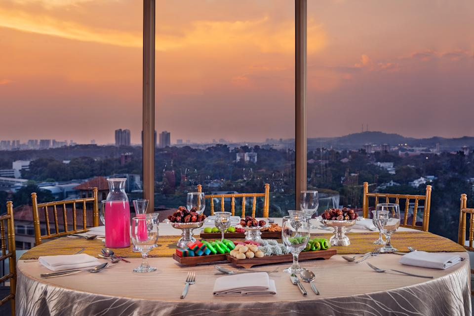 Hilton Singapore Iftar Pop-Up Buffet with a rooftop city view