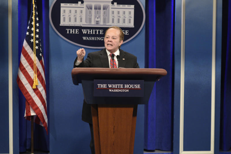 "Melissa McCarthy impersonates White House press secretary Sean Spicer during ""Saturday Night Live's"" 42nd season."