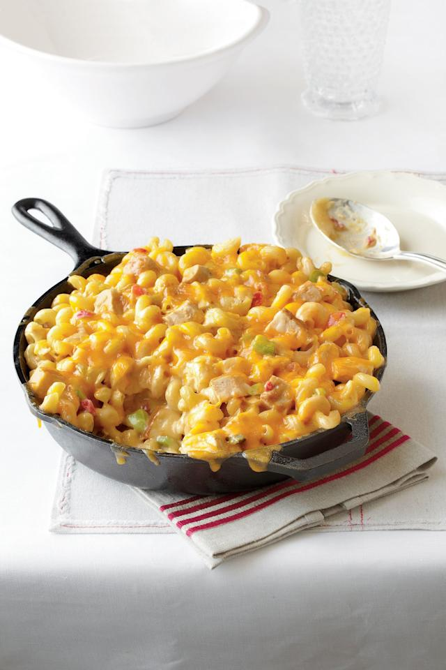 """<p><b>Recipe: <a href=""""https://www.southernliving.com/recipes/king-ranch-chicken-mac-and-cheese"""">King Ranch Chicken Mac and Cheese</a></b></p> <p> Two of our favorite casseroles come together to create one irresistible dish. </p>"""