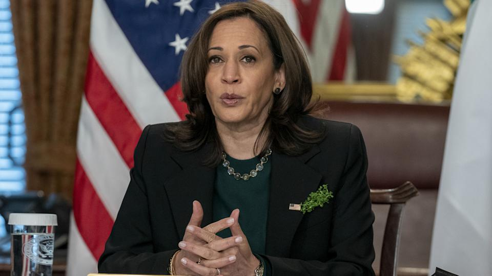 U.S. Vice President Kamala Harris speaks while meeting virtually with Micheál Martin, Ireland's prime minister, not pictured, in Washington, D.C. on Wednesday, March 17, 2021. (Ken Cedeno/CNP/Bloomberg via Getty Images)