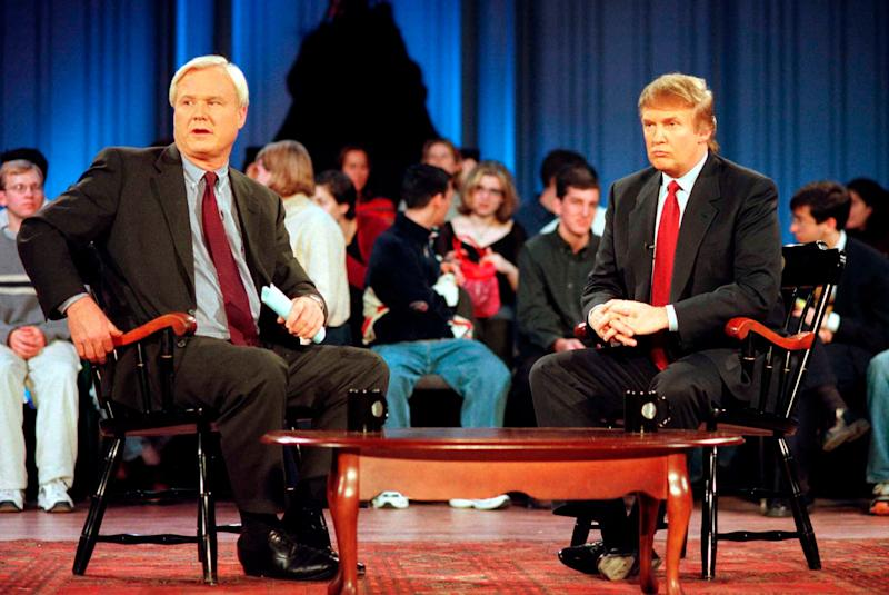 "Chris Matthews, left, and Donald Trump during a break in the taping of MSNBC's ""Hardball With Chris Matthews"" at the University of Pennsylvania's Irvine Auditorium on Oct. 18, 1999."