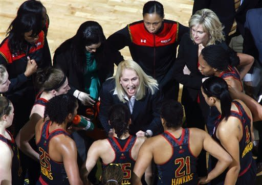 Maryland coach Brenda Frese, center, yells at her team during a time out after they lost a big lead against Florida State in the middle of the first half of an NCAA college basketball game on Thursday, Feb. 28, 2013, in Tallahassee, Fla. (AP Photo/Phil Sears)