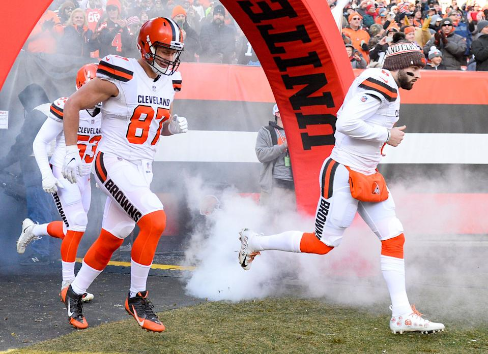 CLEVELAND, OH - DECEMBER 9, 2018: Quarterback Baker Mayfield #6 and tight end Seth DeValve #87 of the Cleveland Browns run onto the field prior to a game against the Carolina Panthers on December 9, 2018 at FirstEnergy Stadium in Cleveland, Ohio. Cleveland won 26-20. (Photo by: 2018 Nick Cammett/Diamond Images/Getty Images)
